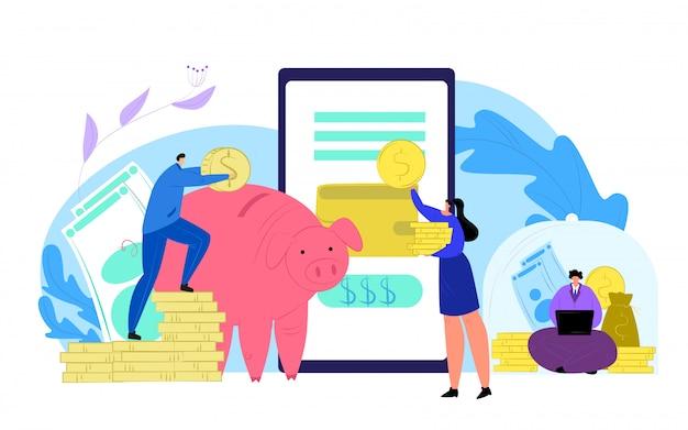 お金を節約し、スマートフォン銀行の概念図を金融します。金融モバイルバンキング、人々の現金節約。貯金箱のコインドル、経済予算のアプリサービス。 Premiumベクター