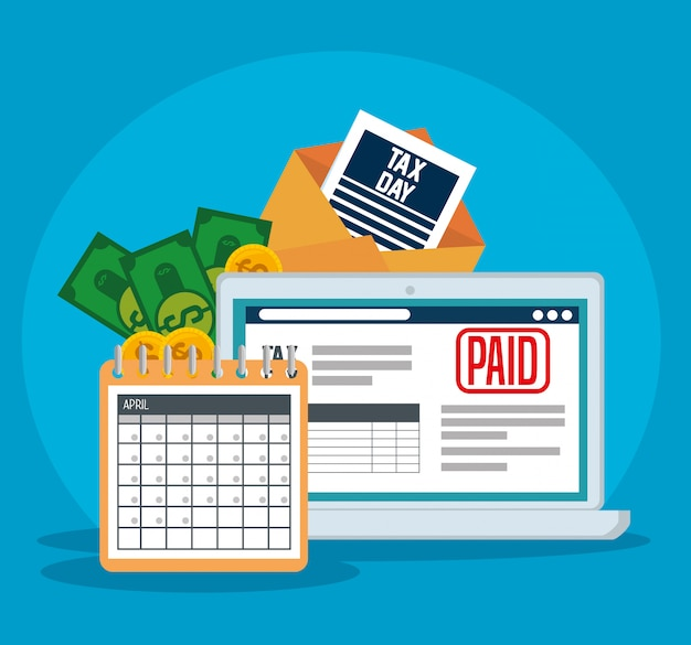 Finance service tax with laptop and calendar Free Vector