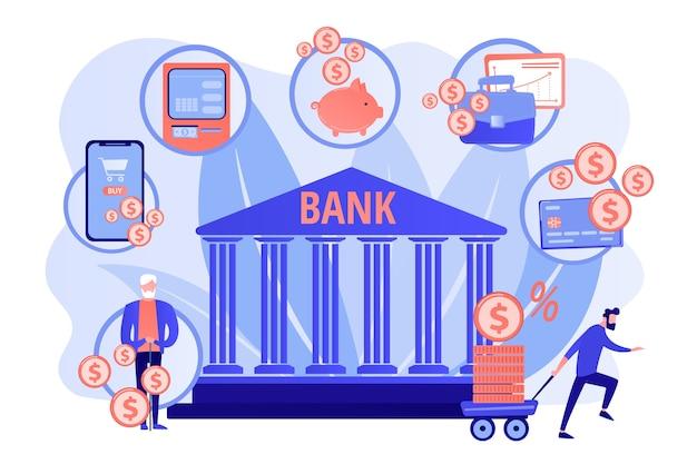 Финансовые услуги. финансовая транзакция. электронная коммерция и электронные платежи Бесплатные векторы