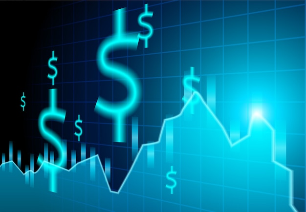 Finance stock market .dollar signs on blue background. Premium Vector