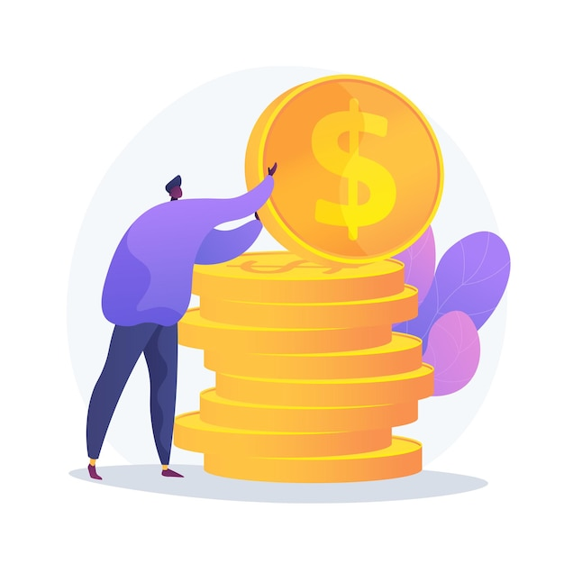 Finances management. budget assessment, financial literacy, accounting idea. financier with cash, economist holding golden coin cartoon character. Free Vector