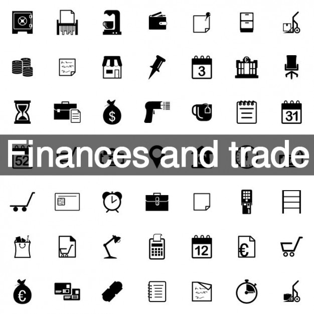 Finances and trade icon set Free Vector