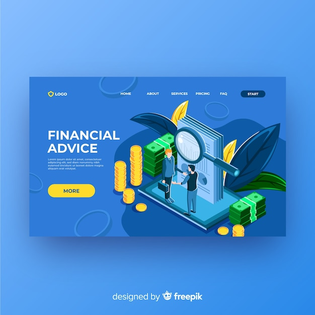Financial advice landing page Free Vector