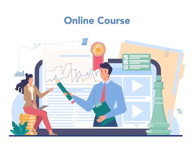 Онлайн-сервис или платформа финансового консультанта. консультации по финансовым операциям делового характера. онлайн-курс. изолированная квартира Premium векторы
