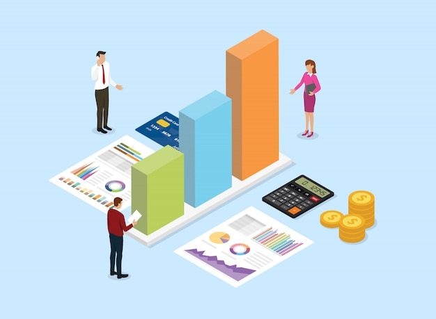 Financial analysis company concept with team people analyze data from graph Premium Vector