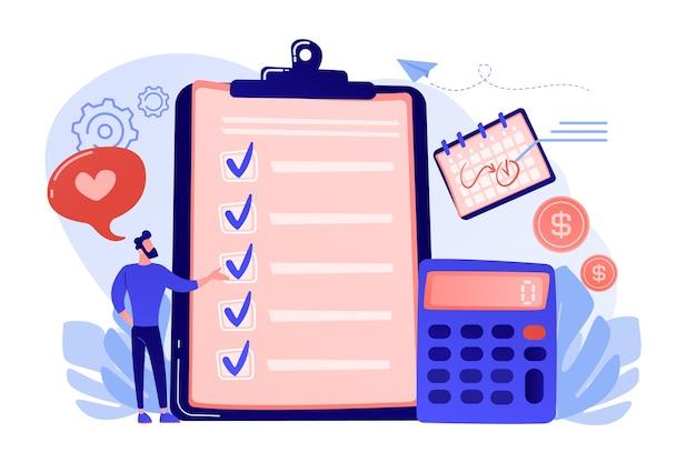 클립 보드, 계산기 및 달력의 체크리스트에서 계획하는 재무 분석가. 예산 계획, 균형 예산, 회사 예산 관리 개념 그림 무료 벡터