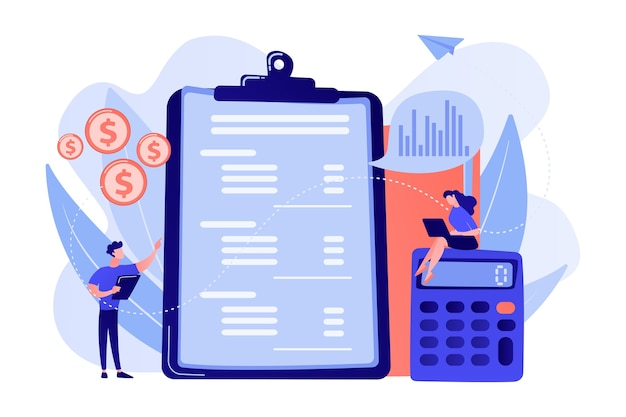 Free Vector   Financial analysts doing income statement with calculator and  laptop. income statement, company financial statement, balance sheet  concept illustration
