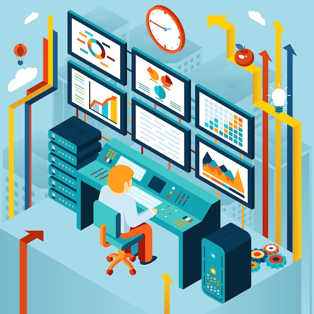 Analisi finanziaria e concetto di analisi aziendale. sviluppo e diagramma, grafico e dinamiche, economico e finanziario. illustrazione vettoriale Vettore gratuito