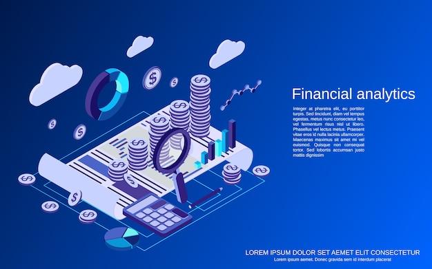財務分析、ビジネス統計フラットアイソメトリックコンセプト Premiumベクター