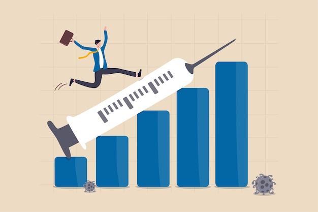 Финансовый и экономический кризис оправился от краха covid-19 с концепцией открытия вакцины против коронавируса, бизнесмен-инвестор счастлив, бегая на шприце, указывая вверх на финансовую гистограмму роста прибыли. Premium векторы