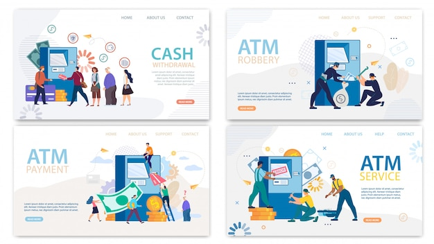 Financial atm services landing page cartoon set Premium Vector