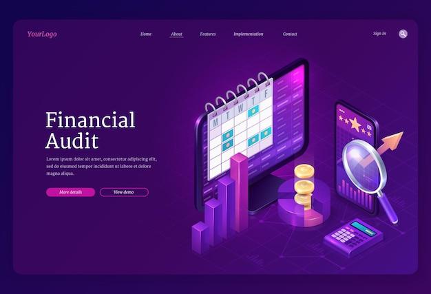 Pagina di destinazione isometrica dell'audit finanziario Vettore gratuito