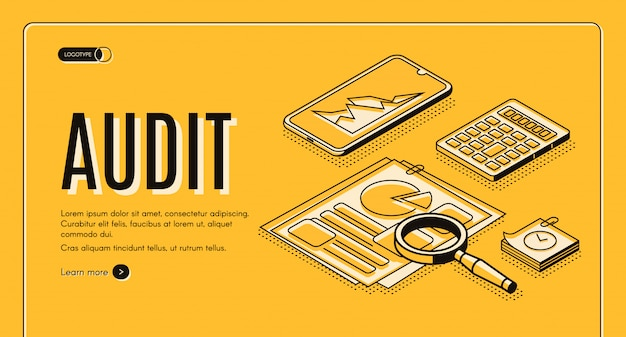 Financial audit online service isometric vector web banner, landing page. Free Vector