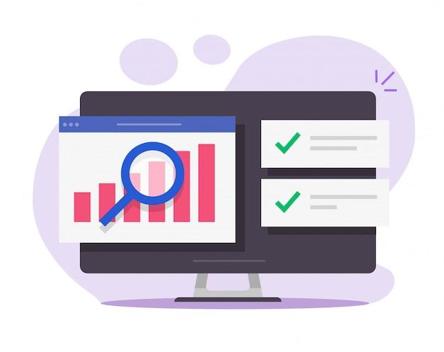 Financial audit research analysis report online on desktop computer Premium Vector