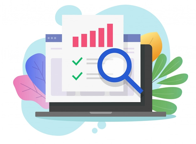 Financial audit research on computer Premium Vector