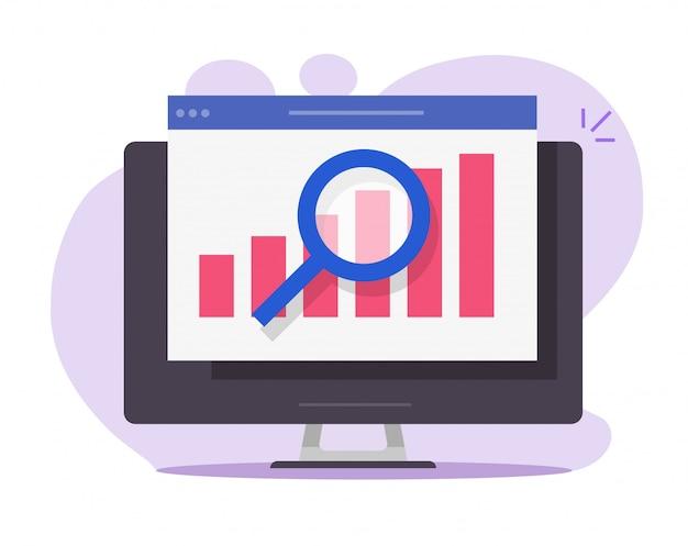 Financial audit sales research analysis report online on desktop computer pc icon Premium Vector