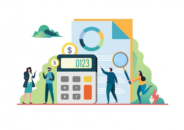 Financial audit. Premium Vector