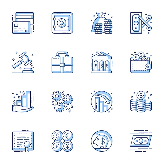 Financial and banking service linear vector icons set. Premium Vector