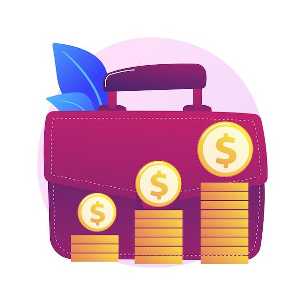 経済的利益。お金を稼ぎ、収入を得ている大きなブリーフケースを持つビジネスマンの漫画のキャラクター。利益、収入、収益。キャピタルゲインプロセス 無料ベクター