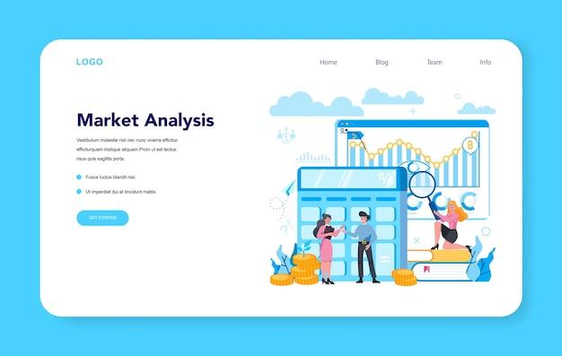 Веб-баннер или целевая страница финансового брокера и анализа рынка Premium векторы