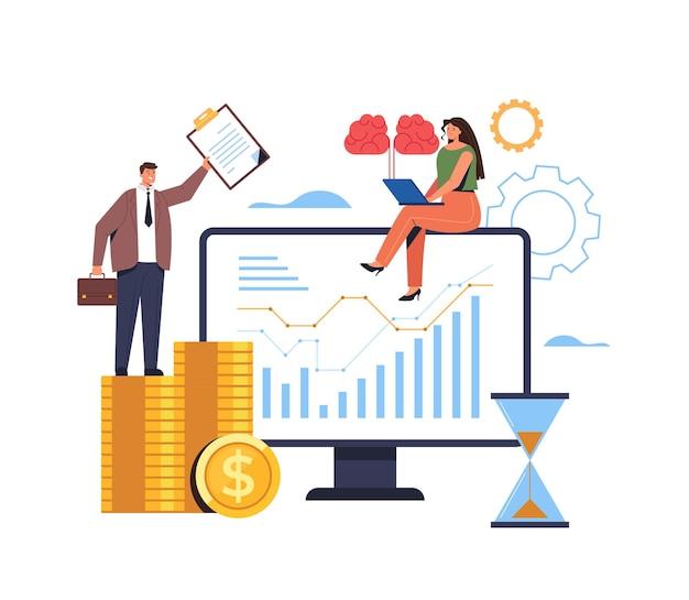 金融ビジネス分析seo統計研究マーケティング管理ブレインストーミングの概念。 Premiumベクター