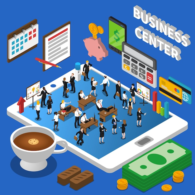 Financial business center isometric composition poster Free Vector