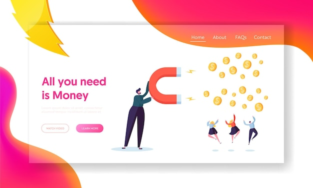 Financial business income growth concept landing page. Premium Vector