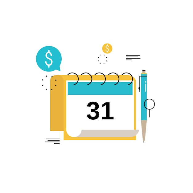 Financial calendar, financial planning, monthly budget planning flat vector illustration design. Financial planning design for mobile and web graphics Premium Vector