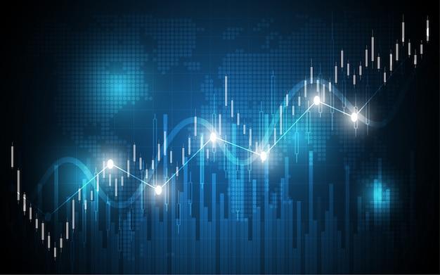 Financial chart candle stick graph business data analysis Premium Vector