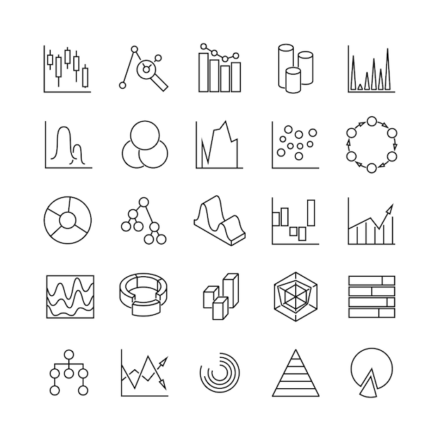 Financial charts and statistics infographic business diagrams line  icons, analytic graphs poctograms Premium Vector