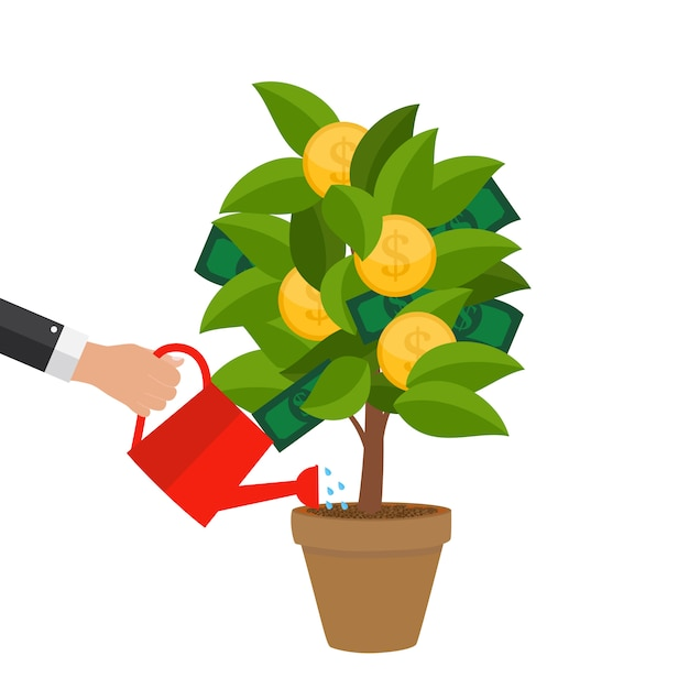 Financial concept. money tree - concept of successful business.  vector illustration Premium Vector