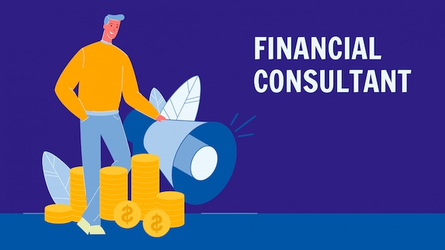 Financial consultant flat vector banner with text Premium Vector