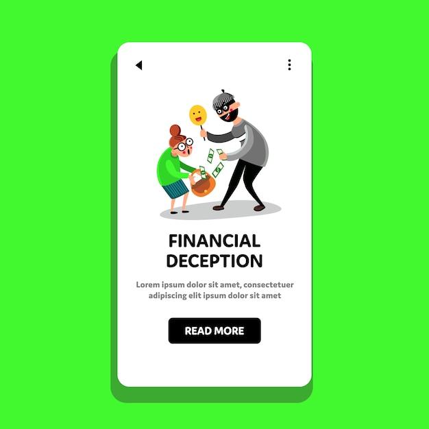Financial deception cajolery money people Premium Vector