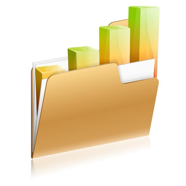 Financial folder icon Premium Vector