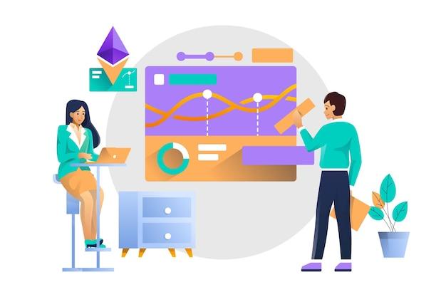 Иллюстрация концепции финансового анализа Premium векторы