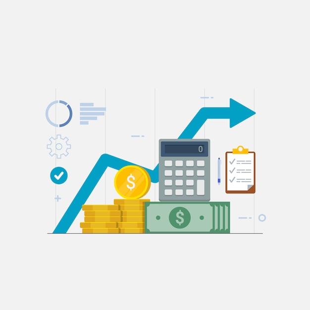 Финансовая графика производительности статистика отчет о доходах бизнес Premium векторы