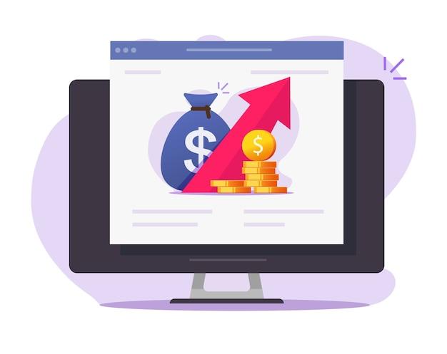 財務成長グラフオンライン株式市場取引アプリ、経済または売上金の利益データ Premiumベクター