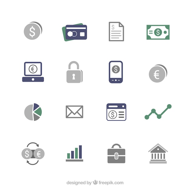 Financial icons Premium Vector