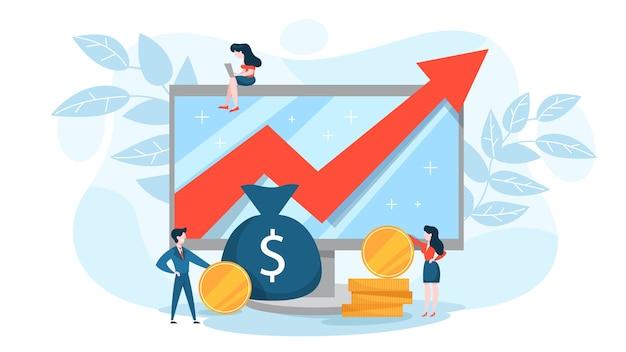 財政の増加の概念。お金の成長のアイデア Premiumベクター