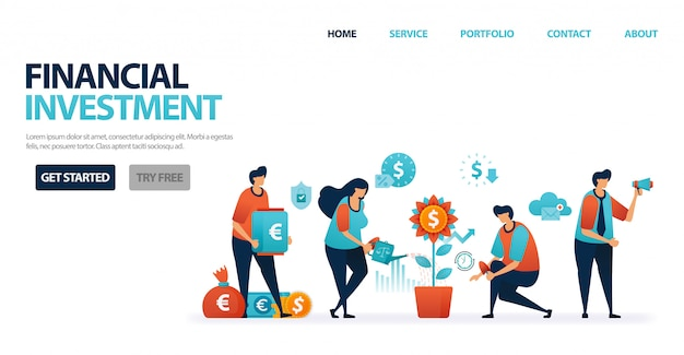 Financial investment with bank deposits and mutual funds to simplify investment, banking credit with mild bank interest for business loans. Premium Vector