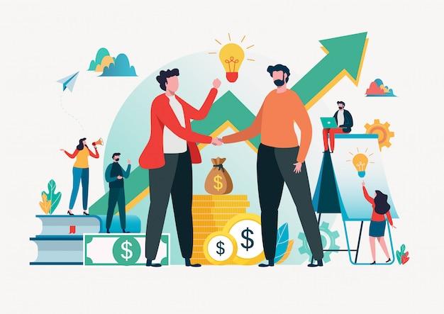 Financial investments concept. Premium Vector