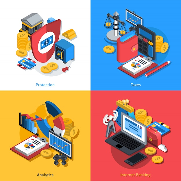 Financial isometric set banner Free Vector