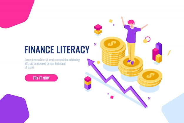 Financial literacy isometric, money accounting, economic illustration with woman who stand on podium Free Vector