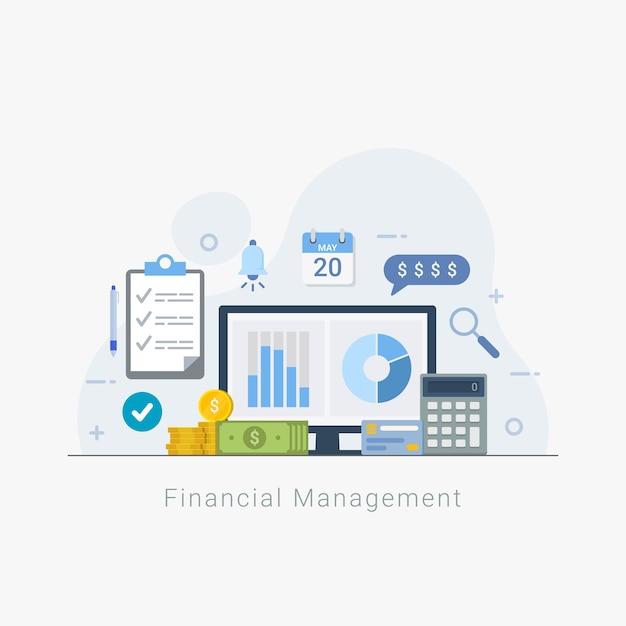 Финансовый менеджмент и анализ бизнеса Premium векторы