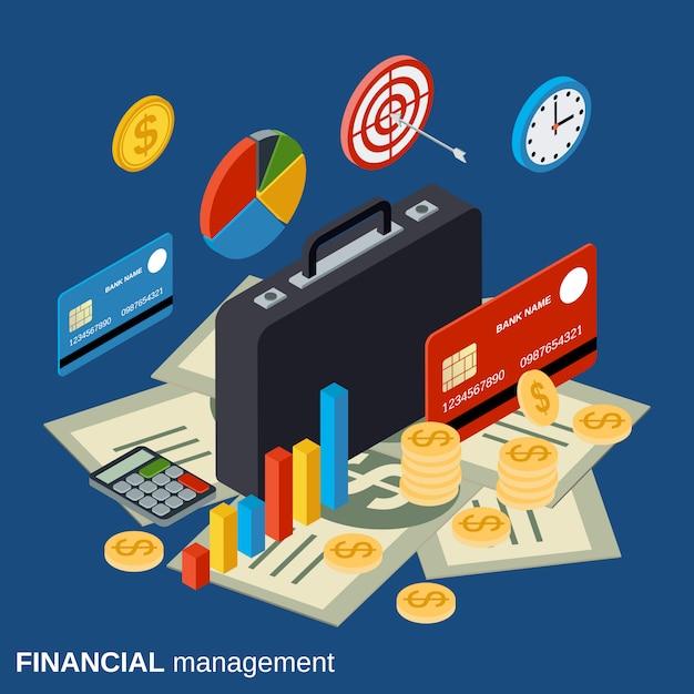 Financial management flat isometric vector concept Premium Vector