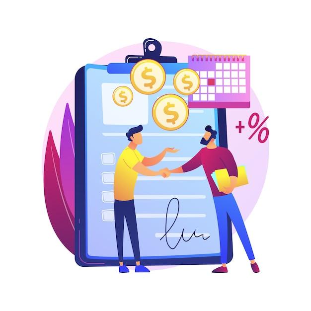 Документ финансового обязательства. вексель, договор займа, обещание возврата долга. подписание договора между эмитентом и получателем платежа. бизнесмены, совершающие сделки Бесплатные векторы
