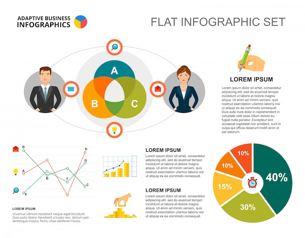 Financial pie and line charts template for presentation Free Vector
