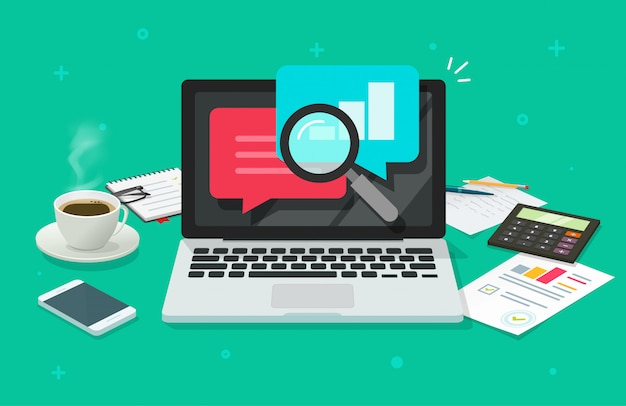 Financial quality audit research on laptop computer work desk or audit research on working table top view flat cartoon Premium Vector