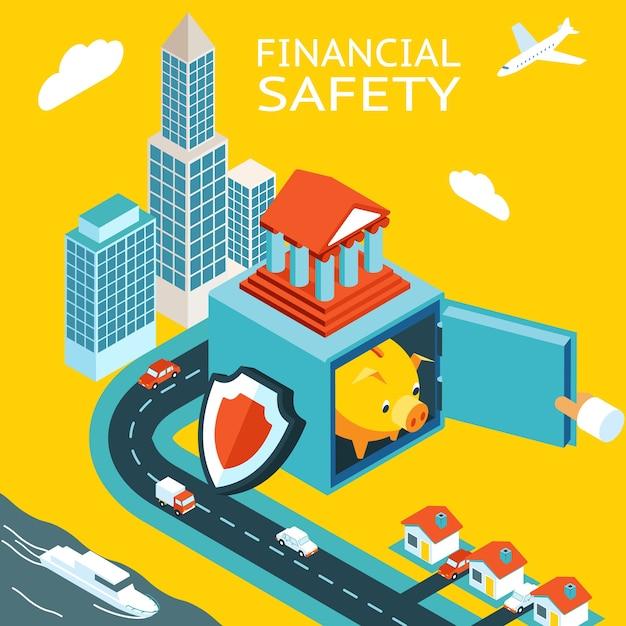 Финансовая безопасность и зарабатывание денег. открыть сейф с свиньей копилку. небоскреб, дома. Бесплатные векторы