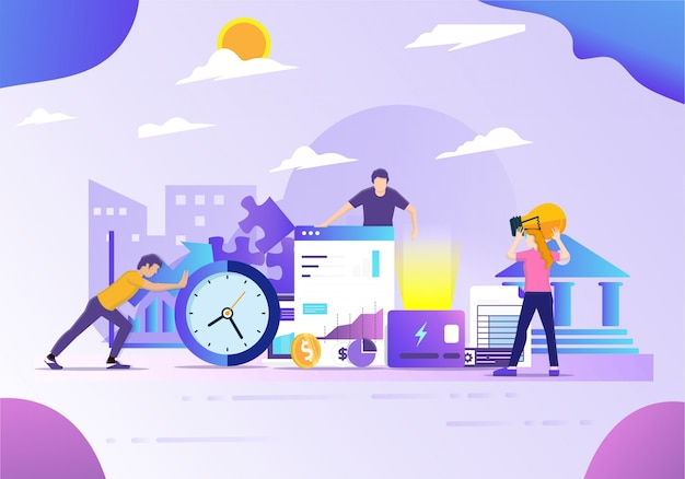 Financial science and technology data office Premium Vector